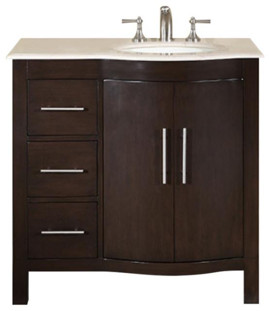 36 Inch Modern Espresso Bathroom Vanity, Choice Offset ...