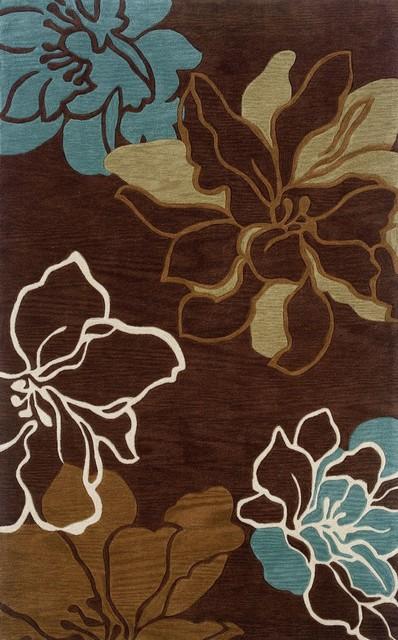 Linon Trio Brown Turquoise Area Rug