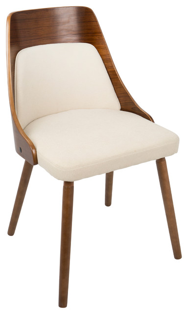 LumiSource Anabelle Dining Chair, Walnut and Cream