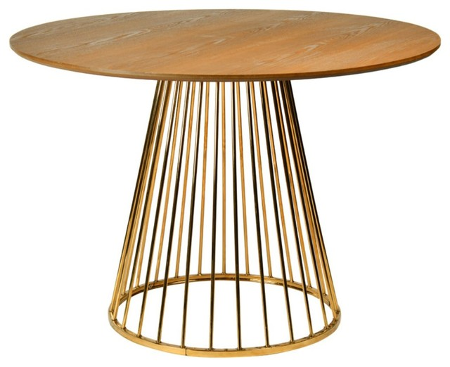Modrest Holly Modern Ash & Gold Round Dining Table.