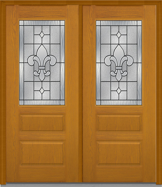 Carrollton 1 2 lite 2 panel horizontal fiberglass oak for 6 horizontal panel doors