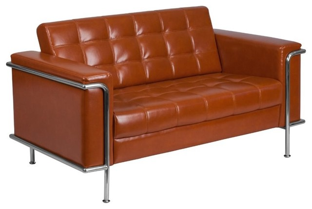 Admirable Flash Furniture Faux Leather Loveseat In Orange Short Links Chair Design For Home Short Linksinfo