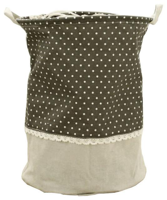 Waterproof Household Laundry Basket Linen Patchwork White Spots Laundry Bag.