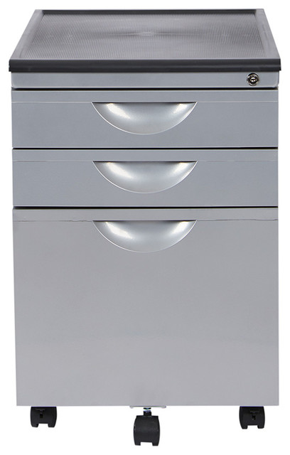 Messina File Cabinet With 3 Drawers, Silver.