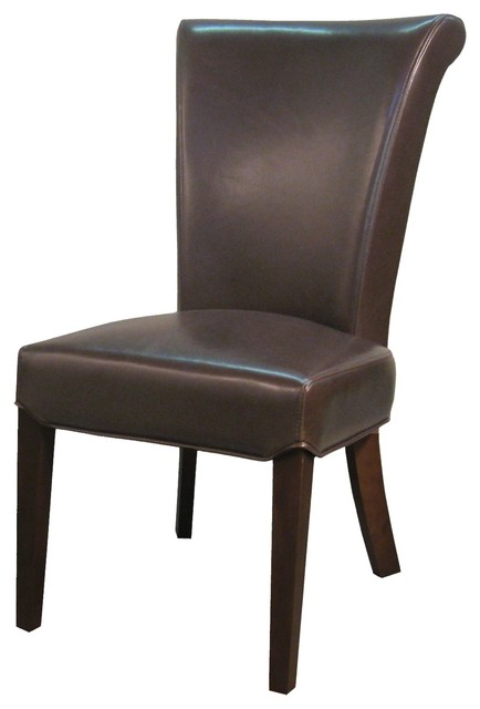 Bentley genuine split leather chair mocha transitional for Genuine leather dining room chairs