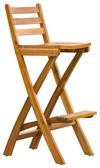Atlantic Foldable Outdoor Wood Bar Stool