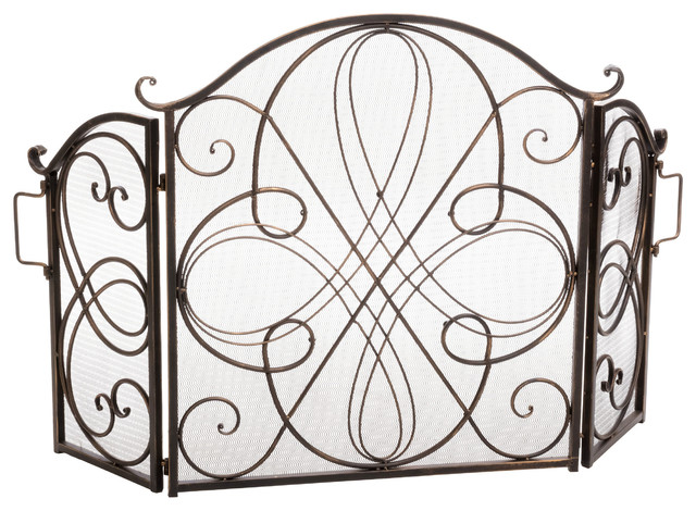 Rosalinda Floral Iron Fireplace Screen, Gold Finish.