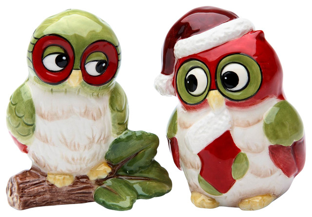 Christmas owl salt and pepper shakers set of 2 contemporary salt and pepper shakers and - Owl salt and pepper grinders ...