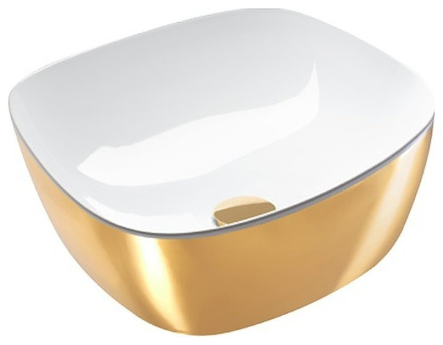 Basin Without Overflow, Gold/White Gloss
