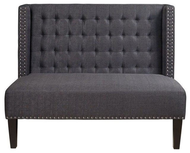 Bowery Hill Fabric Living Room Bench, Anthracite.