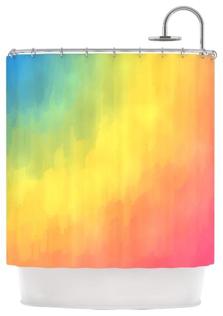KESS InHouse Fotios Pavlopoulos Watercolor Layers Rainbow Shower Curtain