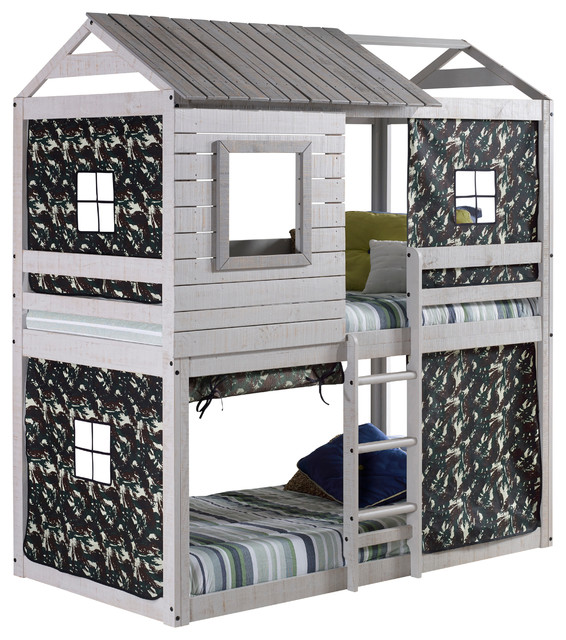 Campbell S Clubhouse Bunk Bed With Green Camo Tent Transitional