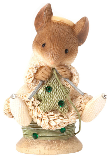 Enesco Heart of Christmas Gift Mouse Knitting Star Figurine ...