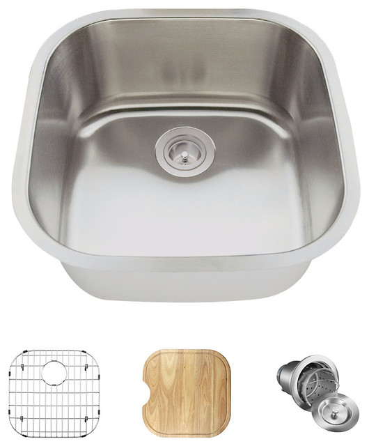 Single Bowl Stainless Steel Bar Sink, 16-Gauge, Ensemble.