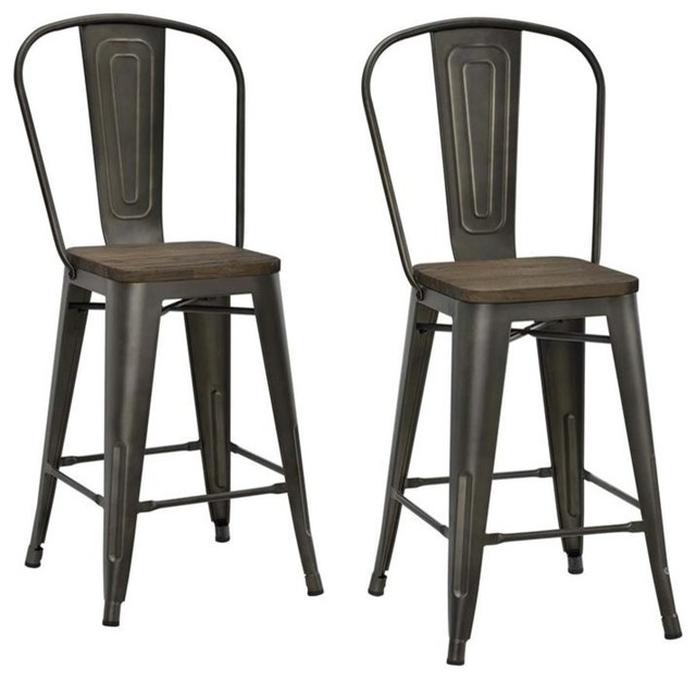 DHP - Luxor Counter Stools Set of 2 Antique Gunmetal - Bar Stools and  sc 1 st  Houzz & Industrial Bar Stools and Counter Stools | Houzz islam-shia.org