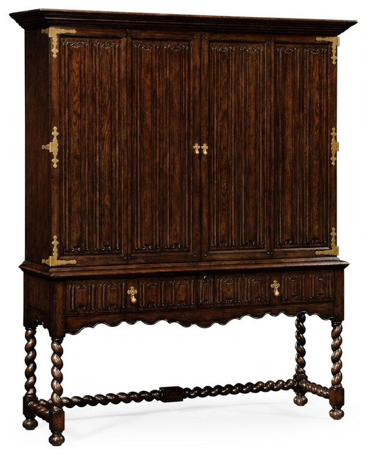 Jonathan Charles Tv Cabinet Tudor Oak Traditional Media Cabinets By Euroluxhome