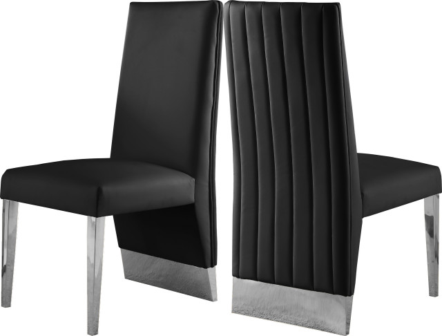 Porsha Faux Leather Dining Chair Set Of 2 Contemporary Dining Chairs By Meridian Furniture