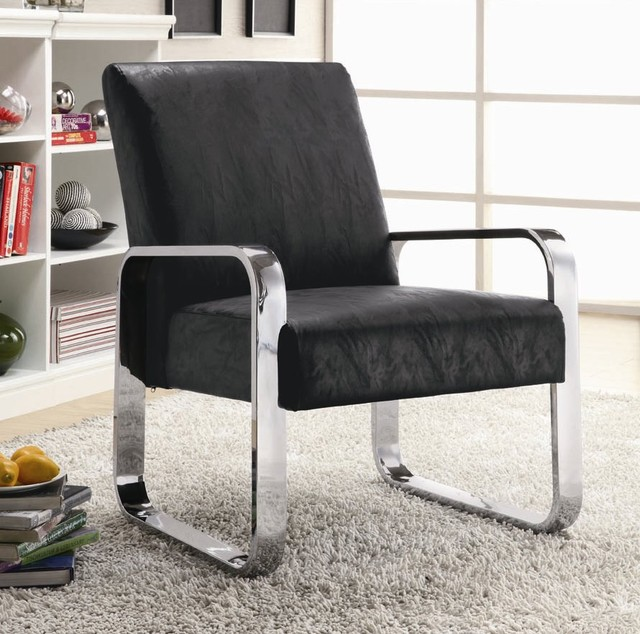 Black Vinyl Modern Accent Chair with Silver Chrome Arms and Legs modern armchairs and. Black Occasional Chair