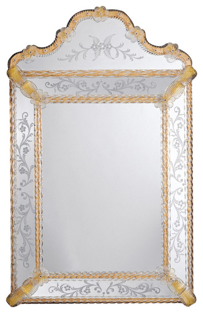 traditional bathroom mirrors inviting home inc venetian mirror with scalloped top 14797