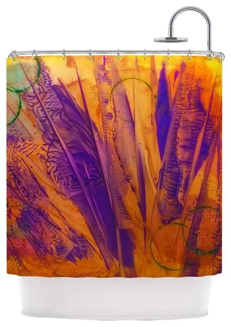 Malia Shields Together Purple Orange Shower Curtain