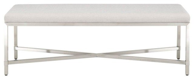 Orient Express Traditions Strand Upholstered Bench In Stainless.