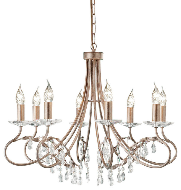 Traditional 8-Arm Chandelier, Crystal Droplets