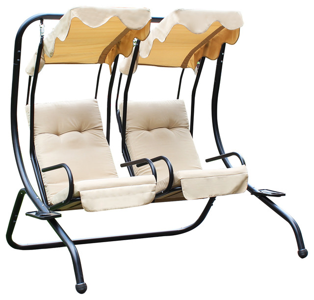 Canopy Awning Porch Swings Bench Chair, Outdoor, Beige.