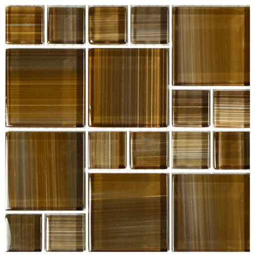 "12""x12"" Glass Tile Blends Watercolors Series, Brown"