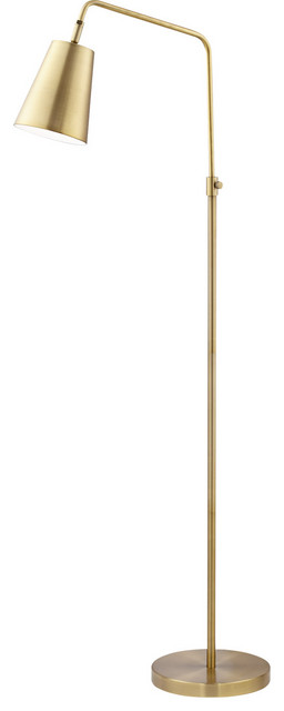 Zella 1 Light Floor Lamp in Brushed Antique Brass Plated