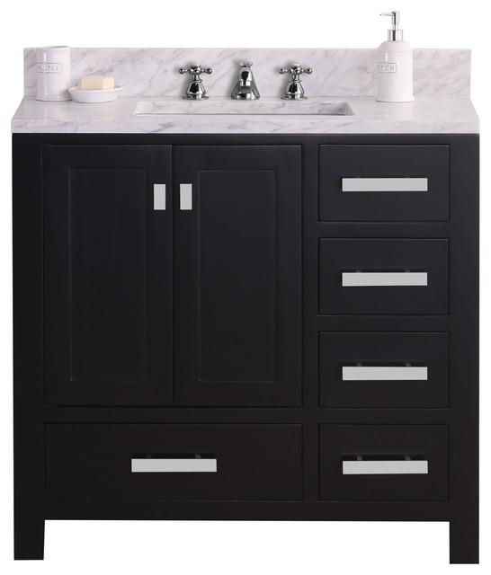 36 Wide Dark Espresso Single Sink Bathroom Vanity Transitional Bathroom Vanities And Sink Consoles By Water Creation Houzz