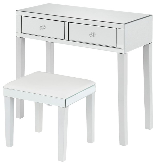 Venecia Mirrored 2-Drawer Vanity Table With Stool Set, White