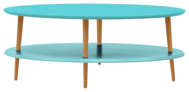 Ovo Coffee Table, Dark Turquoise, Low Shelf