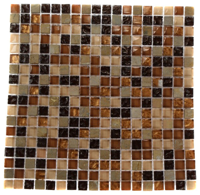 12 X12 Golden Road Squares Marble Gl Mosaic Tile Single Sheet Contemporary