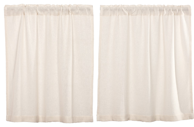 Farmhouse Kitchen Curtains VHC Burlap Chocolate Tier Pair Rod Pocket Cotton
