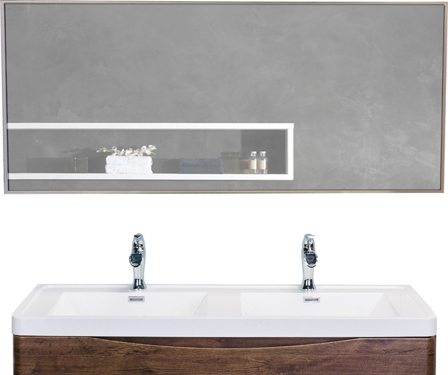 Eviva Sax 57x20 Brushed Metal Frame, Brushed Stainless Bathroom Mirror