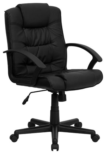 Bilson Leather Mid-Back Swivel Chair, Black.