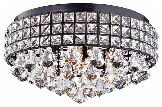4-Light Antique Black Crystal Drum Shade Flush Mount Ceiling Chandelier Glam
