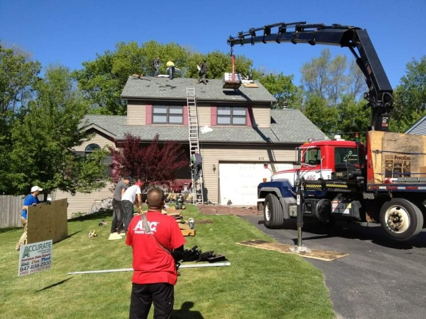 Hail damaged roof getting replaced