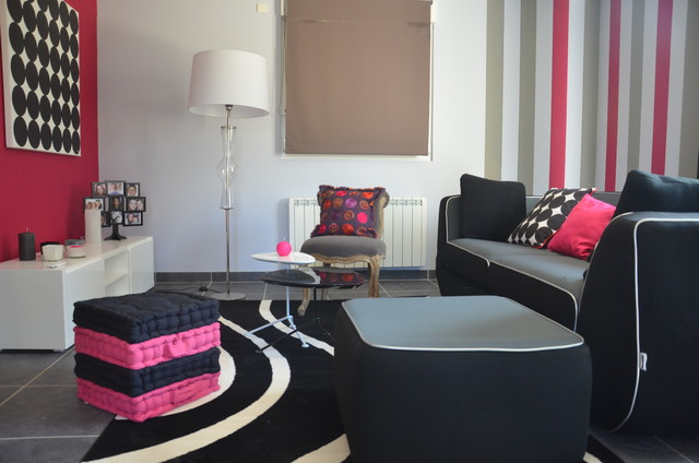 salon salle manger gris et rose contemporain dijon par happy d coration. Black Bedroom Furniture Sets. Home Design Ideas