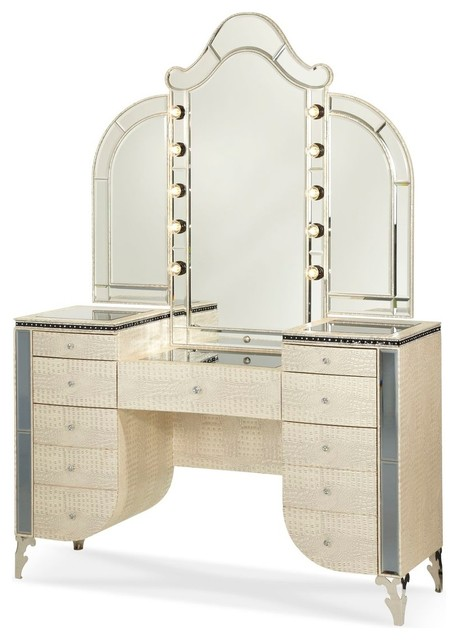 Aico Hollywood Swank Upholstered Vanity And Mirror, Crystal Croc.