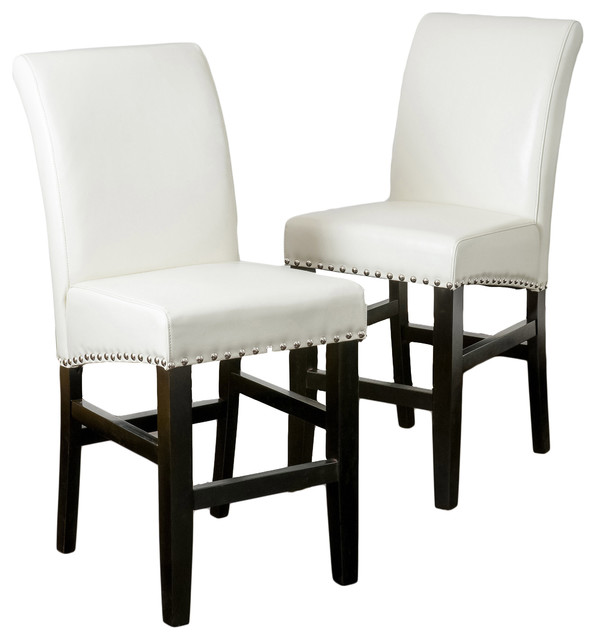 Gdfstudio Clifton Leather Counter Stools Set Of 2