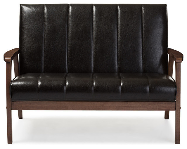 Nikko Faux Leather Wooden 2-Seater Loveseat, Dark Brown.