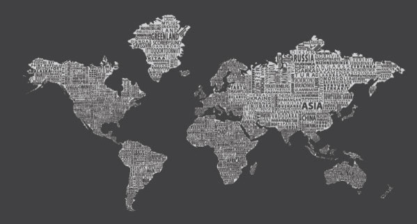 1 World Text Map Wall Mural Inverse Grey