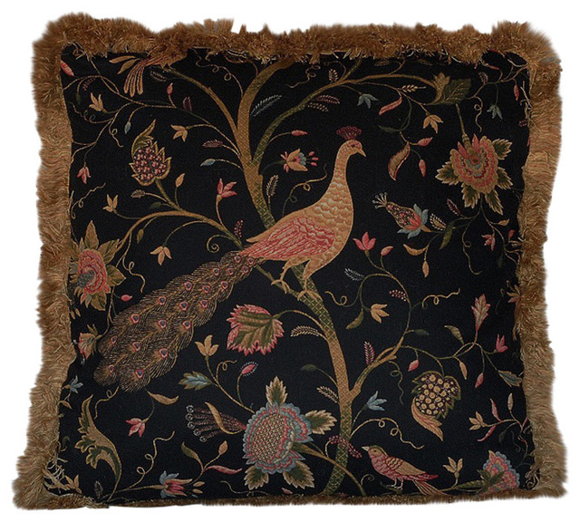 Just The Right Pillow Large Tropical Peacock Black Gold
