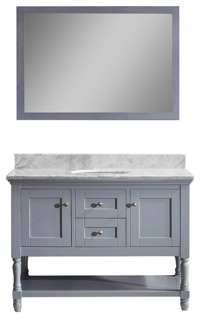 """Julianna 48"""" Vanity, Gray, White Marble, Without Faucet, Round."""