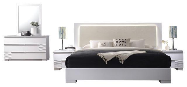 Beau Athens, White Lacquer 5 Piece Platform Modern Bedroom Set, Queen