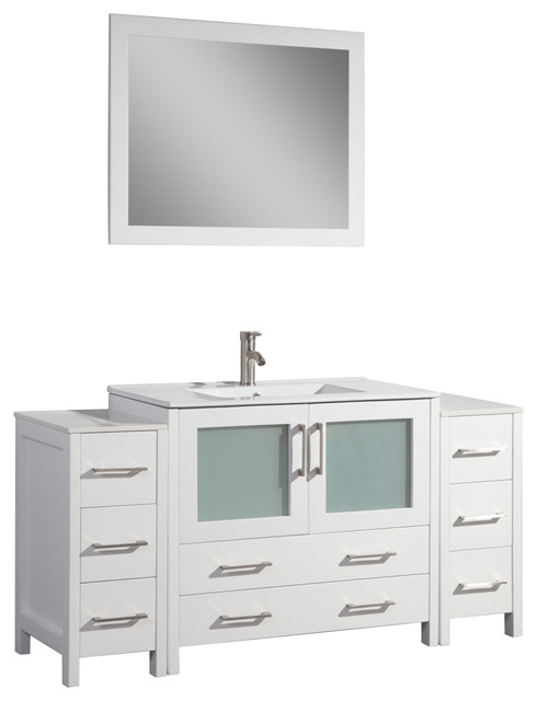 "60"" Single Sink Vanity Set With Ceramic Top, White, Standard Mirror."