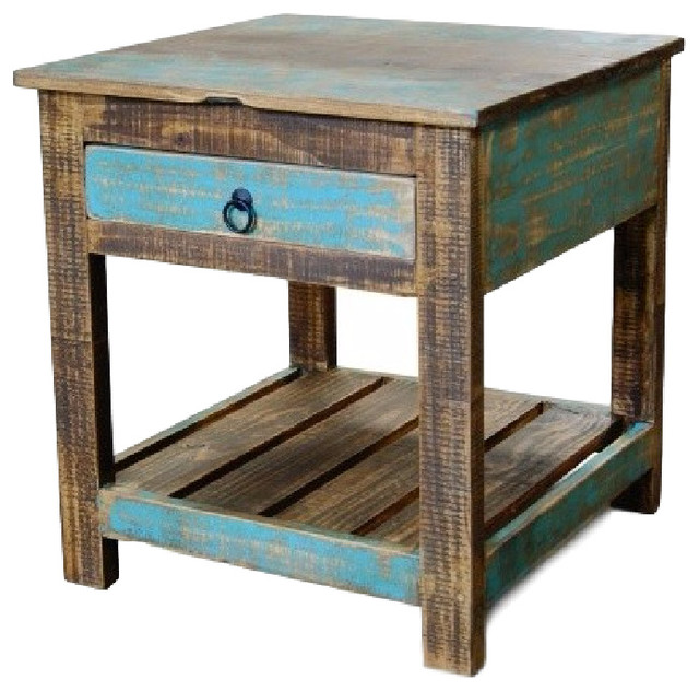 Reclaimed wood solid end table rustic side tables