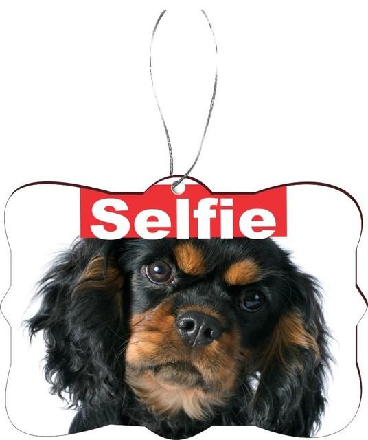 Selfie Cavalier King Charles Dog Rectangle Design Christmas Tree Ornament