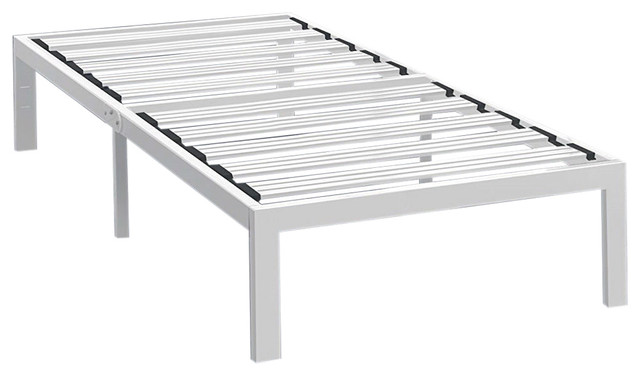 Heavy Duty Steel Platform Bed Frame, White.